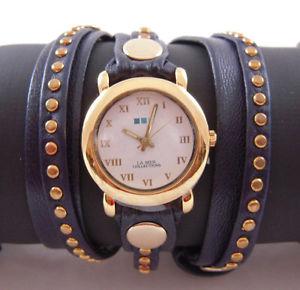 la mer navy gold bali stud watch