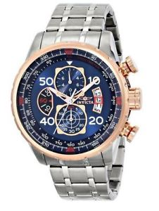 【送料無料】invicta mens 17203 aviator stainless steel and 18k rose gold ionplated watch