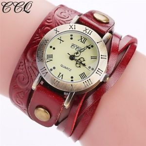 【送料無料】ccq fashion vintage cow leather bracelet watch casual women wrist watch luxury q