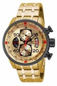 【送料無料】invicta mens aviator 18k gold ionplated watch 17205