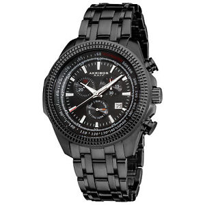 【送料無料】 mens akribos xxiv ak617bk chronograph tachymeter stainless steel watch