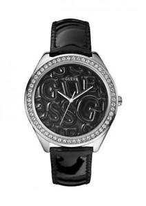 orologio donna guess puffy g w85098l4 pelle nero swarovski lady