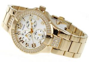 【送料無料】 nwt guess prism swarovski crystals gold bracelet lady watch date day g13537l