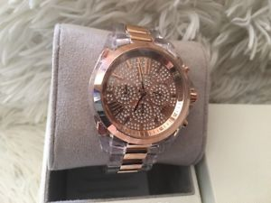 【送料無料】michael kors bradshaw 2 tone rose gold clear acrylic pave bracelet watch mk5905