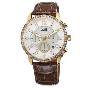 【送料無料】 womens burgi bur089br crystal chronograph brown genuine leather strap watch