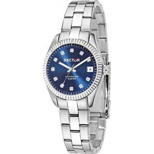 【送料無料】orologio sector 120 r3253579525 donna watch acciaio blu caribe 31 mm zirconi