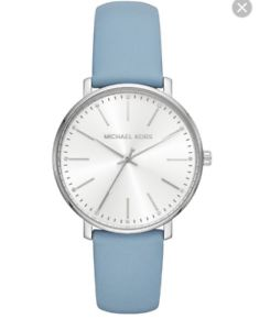 【送料無料】michael kors mk 2739 lady's sky blue leather strap watch bnwt in gift box