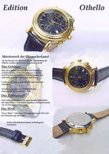 【送料無料】othello chronograph herren uhr azur blau swiss etauhrwerk g10