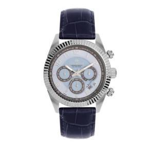 【送料無料】orologio uomo lorenz ginevra 030093cc chrono pelle blu celeste sub 100mt
