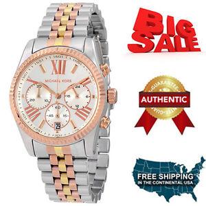 michael kors womens lexington chronograph tritone watch authentic mk5735