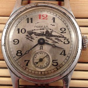 【送料無料】legendary soviet pobeda navy *red 12* windup watch 1q1952 vgc *us seller* 236