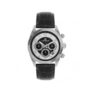 【送料無料】orologio uomo lorenz ginevra 030093bb chrono pelle nero silver sub 100mt