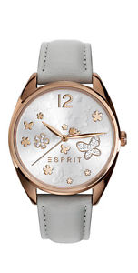 【送料無料】esprit tp10892 light grey es10822004 damenuhr rose leder mit steinen neu