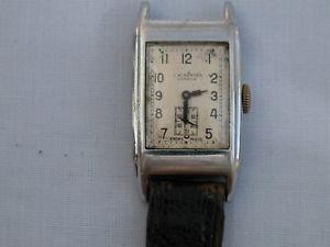 【送料無料】art deco mens stainless steel jwbenson rectangular wristwatch not working