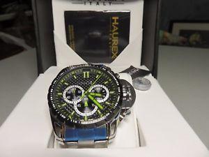 【送料無料】haurex talentor chrono watch blk pvd tachymeter bezel and steel bracelet