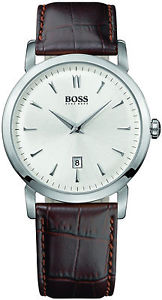 【送料無料】mens brown hugo boss leather strap date watch 1512636