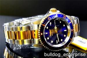 【送料無料】mens invicta pro diver blue 23kt gold tone nh35a automatic coin steel watch