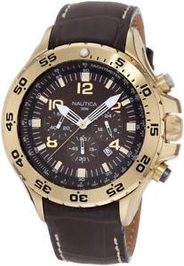 【送料無料】nautica mens brown and gold chronograph watch n18522g