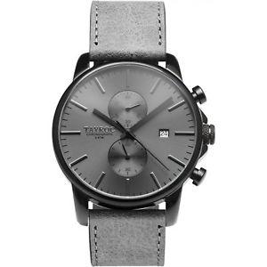 【送料無料】orologio tayroc ty155 boundless uomo pelle grigia cronografo 42 mm nero nuovo