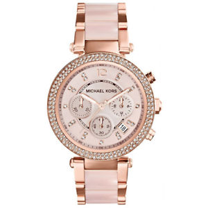 【送料無料】 michael kors ladies parker rose gold blush watch mk5896 rrp 229