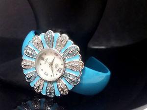 【送料無料】silver turquoise blue crystal rhinestone cuff bracelet flower floral watch petal