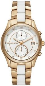 【送料無料】michael kors briar gold tone stainless while silicone watch 40mm mk6466