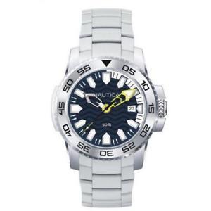 【送料無料】orologio uomo nautica nsr 20 nad13002g bracciale acciaio blu bianco sub 50mt