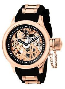 【送料無料】invicta mens russian diver rose goldtone stainless steel skeleton watch