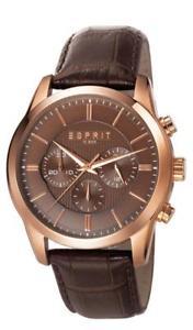 esprit herrenuhr relay rosegold brown es106841004 analog chronograph leder dunke