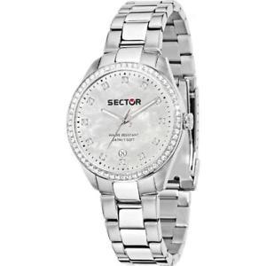 【送料無料】orologio donna sector 120 r3253588515 bracciale acciaio madreperla bianco 50mt