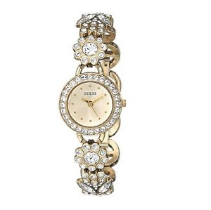 【送料無料】 guess gold tone,crystal flower ,chain bracelet mini watchu0527l2