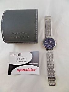 nib speedster anaii south audley stainless steel mesh wristwatch blue sa802m