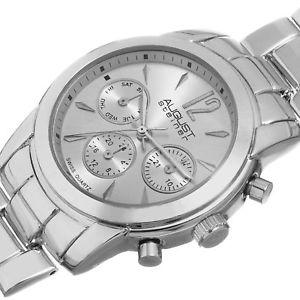 womens august steiner as8087ss silvertone swiss quartz multifunction watch
