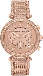 【送料無料】michael kors mk5663 parker rose gold tone glitz chronograph wrist watch rrp 375