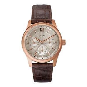 【送料無料】orologio uomo guess asset w0475g2 multifunzione pelle marrone ros classico 50mt