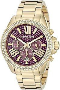【送料無料】 michael kors mk6290 womens fuchsia crystal pave wren goldtone watch