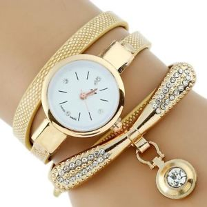 【送料無料】fashion luxury brand women rhinestone gold bracelet watch pu leather ladies