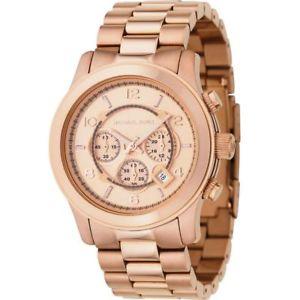 【送料無料】icial michael kors mens mk8096 rose gold runway chronograph watch rrp 279