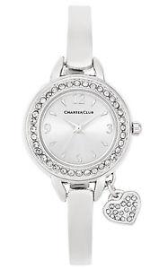 【送料無料】womens crystal heart charm watch charter club silvertone bracelet watch nib