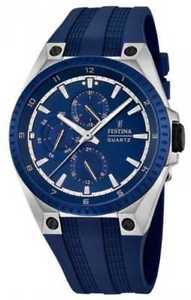 【送料無料】festina mens multifunction blue rubber strap f168342 watch 18