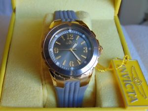【送料無料】invicta 38mm angel 18k ip gold stainless steel watch case with silicone strap