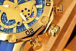 【送料無料】invicta pro diver scuba 30 blueyellow 50mm chronograph blue polyurethane watch