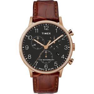 【送料無料】orologio uomo timex waterbury tw2r71600 chrono pelle marrone ros