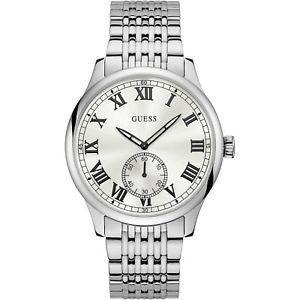 orologio guess cambridge w1078g1 watch acciaio uomo bianco 44mm numeri romani