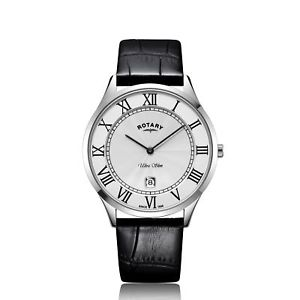 rotary gs0840009 ultra slim white stainless steel mens wristwatch