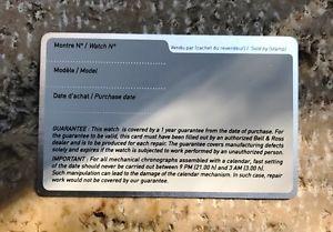 neues angebotbell amp; ross international warranty card blank garantee garanta garantie  nos