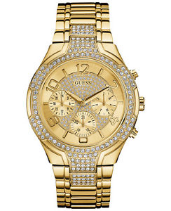 guess womens crystal accent goldtone stainless steel bracelet watch u0628l2
