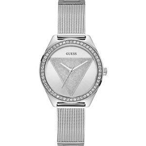 【送料無料】orologio guess tri glitz w1142l1 watch maglia milanese donna zirconi 37mm silver