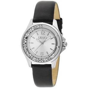 orologio donna liu jo luxury dancing mini tlj741 pelle nero silver swarovski