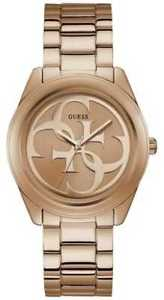 guess womens g twist rose gold pvd plated bracelet w1082l3 watch  17